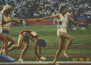 Zola Budd and Mary Decker at the 1984 Los Angeles Olympics